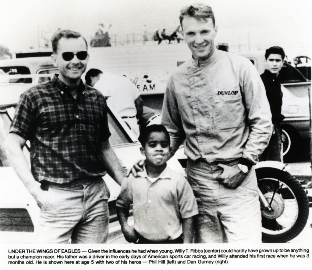 Phil Hill, a 5-year-old Ribbs, and his future friend/employer, Dan Gurney (Image: Press Kit)