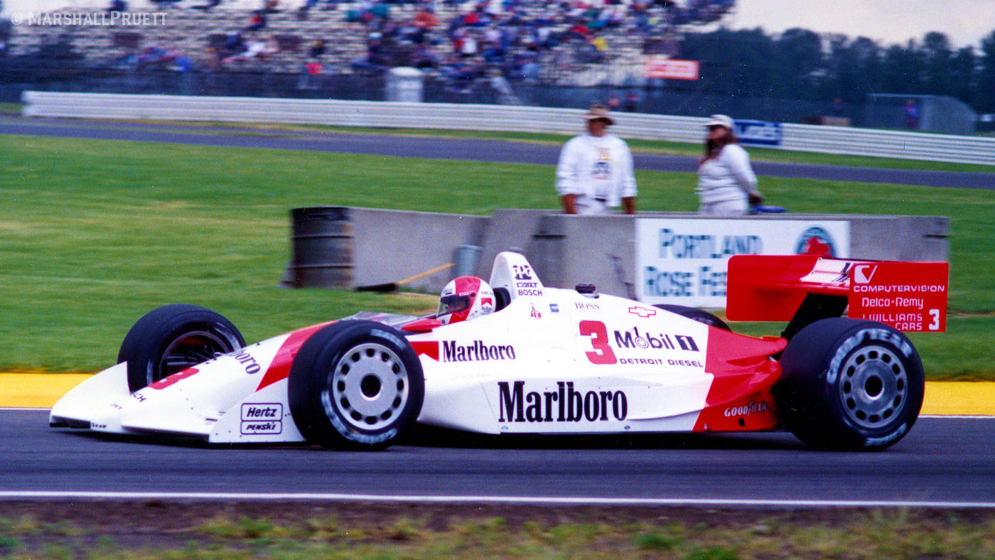 Rick Mears' 1991 Indy 500 winning Penske-Chevy Indy car at speed in Portland. (Image: Marshall Pruett)