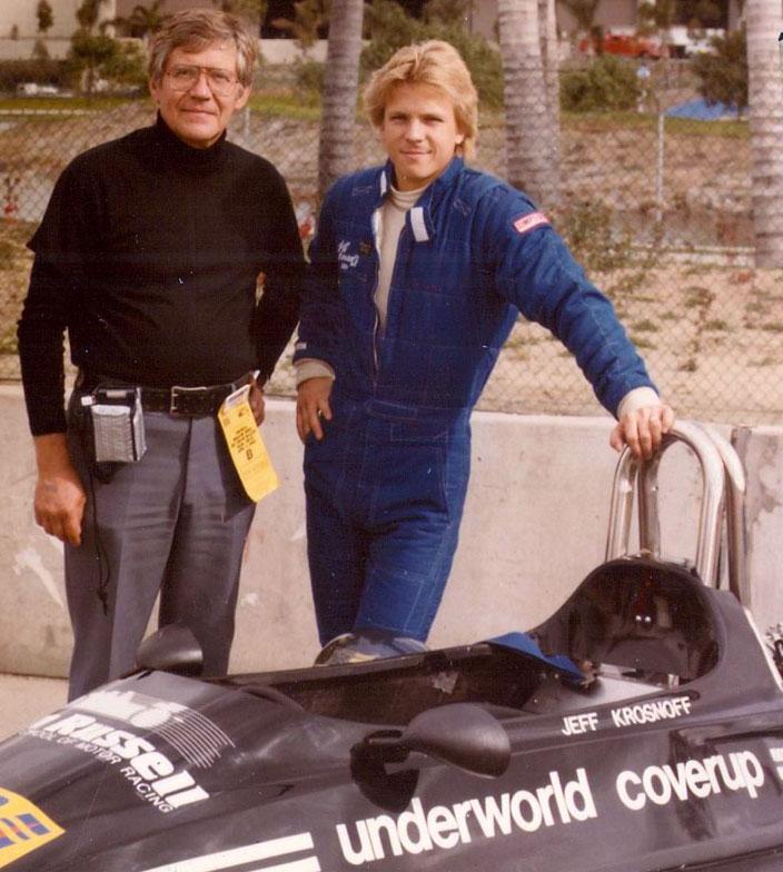 Jeff and his father with the fake mafia sponsorship... (Image: Courtesy of Karen Krosnoff Whisenant)