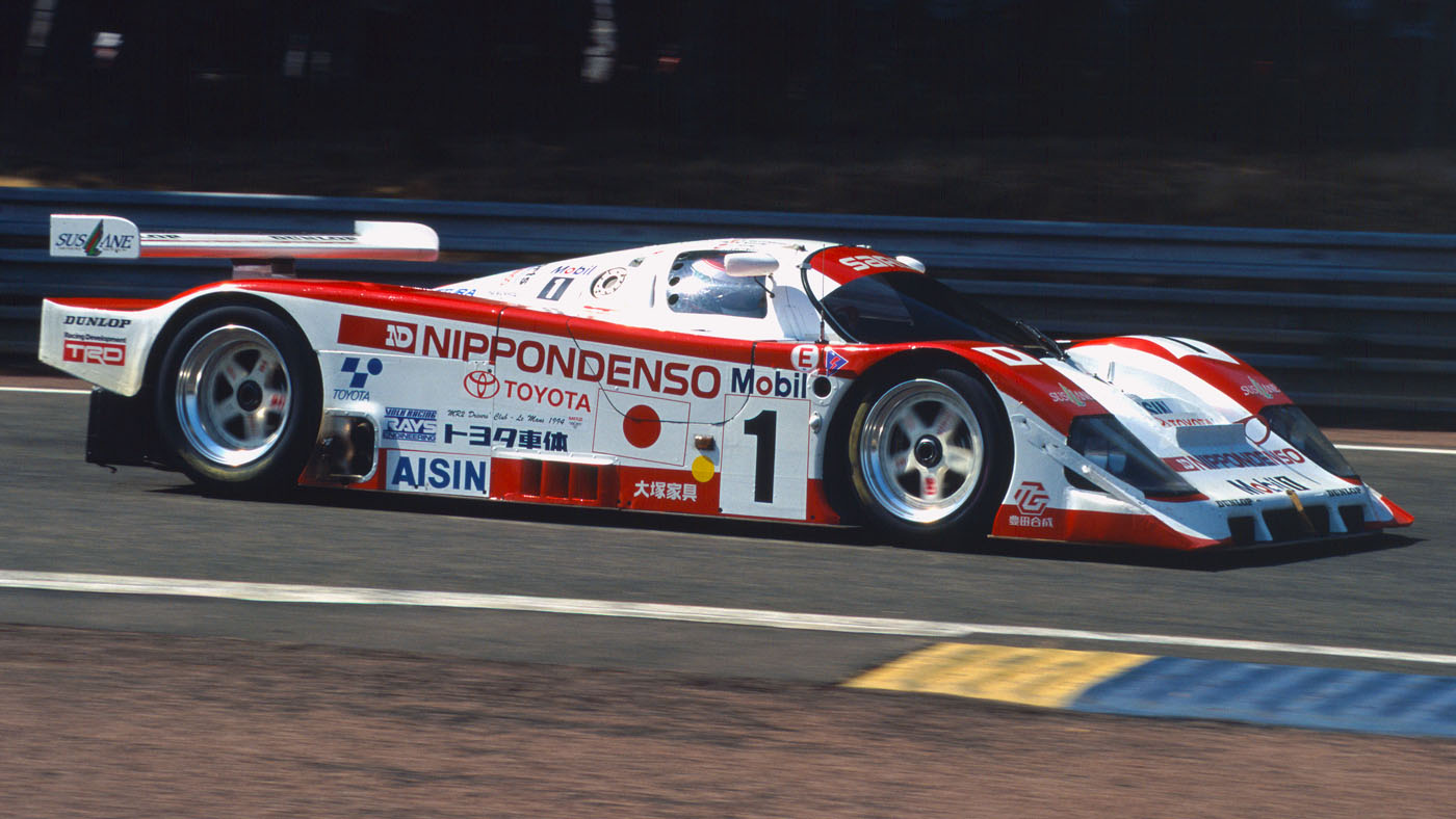 1994 Le Mans 24 Hours. Le Mans, France. 18th - 19th June 1994. Mauro Martini/Jeff Krosnoff/Eddie Irvine (Toyota 94C-V), 2nd position, action. World Copyright: LAT Photographic. Ref: 94LM12