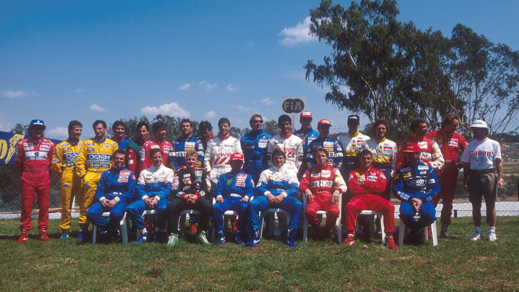 1993 South African Grand Prix. Kyalami, South Africa. 12-14 March 1993. The formula one drivers get together for the annual start of year drivers group shot. (back row from L-R) Senna, M.Schumacher, Patrese, Comas, Alliot, Andretti, Capelli, Zanardi, Warwick, Lehto, Suzuki, Wendlinger, Barrichello, C.Fittipaldi, Barbazza, Alboreto, Berger and Prost. (front row L-R) de Cesaris, Brundle, Herbert, Katayama, Blundell, Badoer, Alesi and D.Hill. Ref-93 SA 04. World Copyright - LAT Photographic