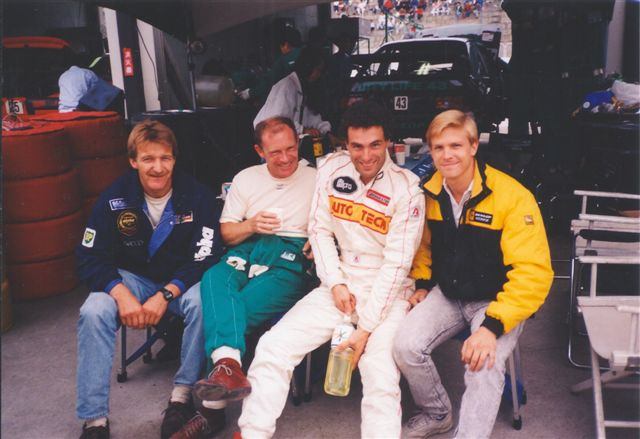 Krosnoff, right, with his close friend Roland Ratzenberger and gang. (Image: Krosnoff family)