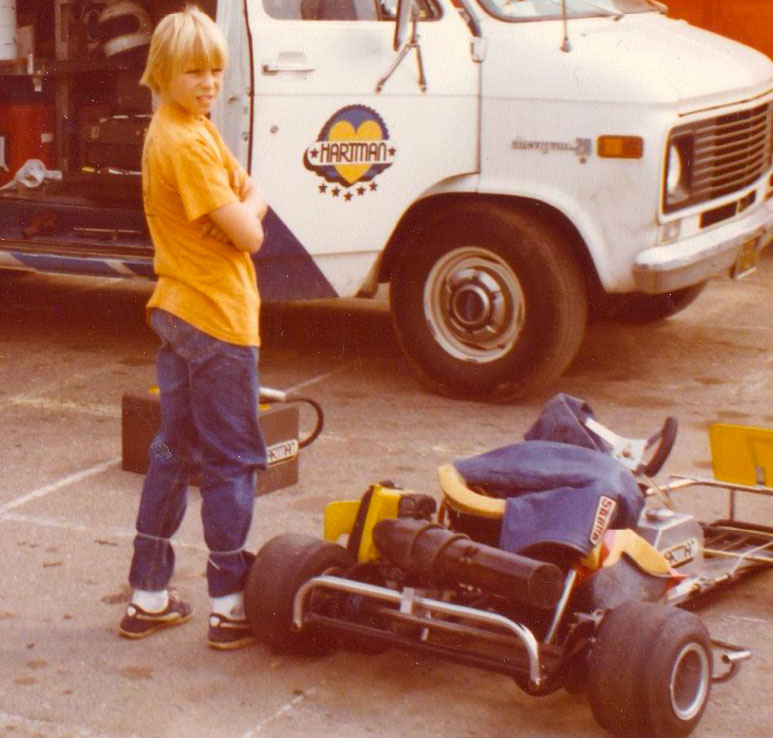 Young Jeff with his kart. (Image: Courtesy of the Krosnoff family)