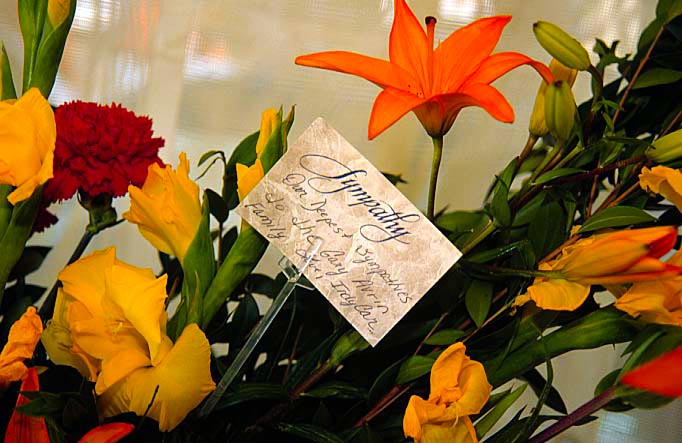 Flowers from the CART IndyCar series at Jeff's memorial. (Image: Krosnoff family)