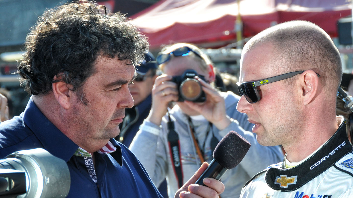 John Hindhaugh with Corvette Racing's Jan Magnussen. (Image: Andy Blackmore)