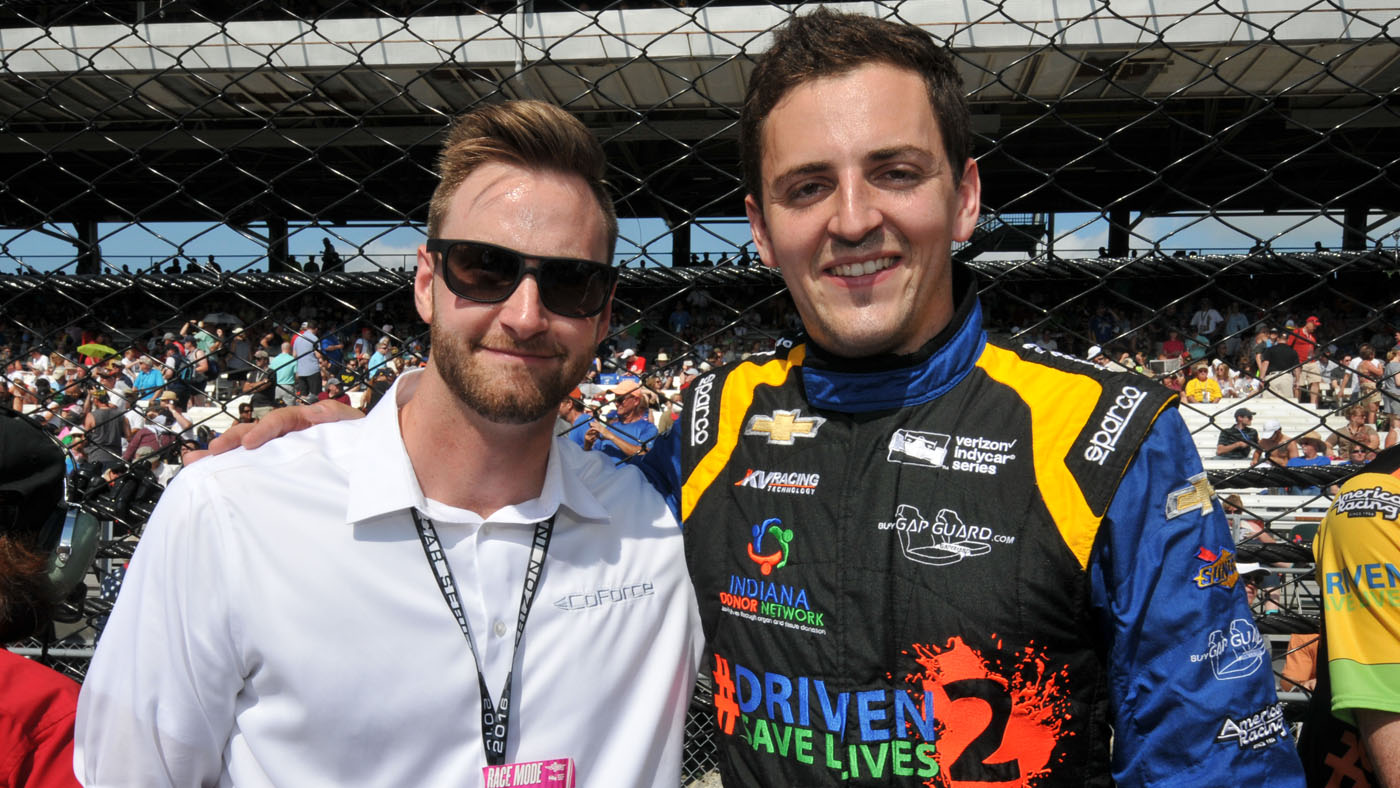 Anders Krohn, left, with Stefan Wilson, at the 2016 Indy 500. (Image: IMS Photo)